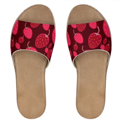 strawberries leather sliders