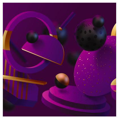 purple 3d geometrical travel wallet