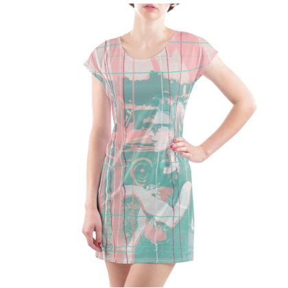 Ladies Tunic T Shirt - Vintage Mood in Pinks and Pastel Greens