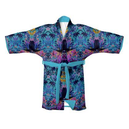 Blue Print Kimono - Silk or Velvet