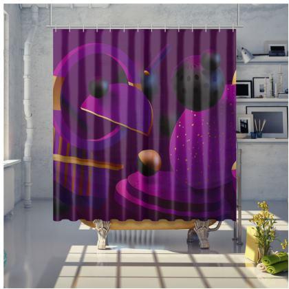 purple 3d geometrical shower curtain