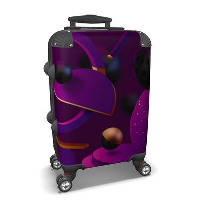 purple 3d geometrical suitcase