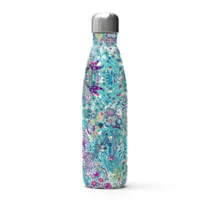 Blue Garden Thermal Printed Water Bottle