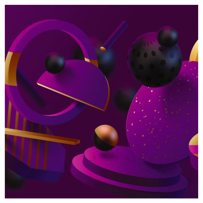 purple 3d geometrical clutch bag