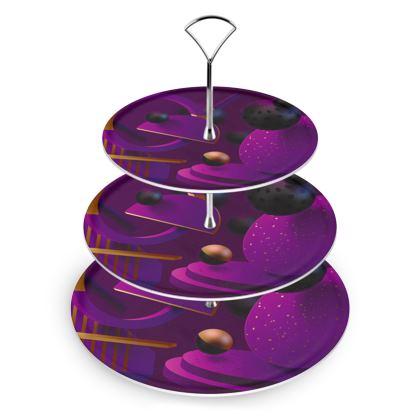 purple 3d geometrical cake stand