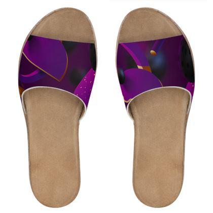 purple 3d geometrical leather sliders