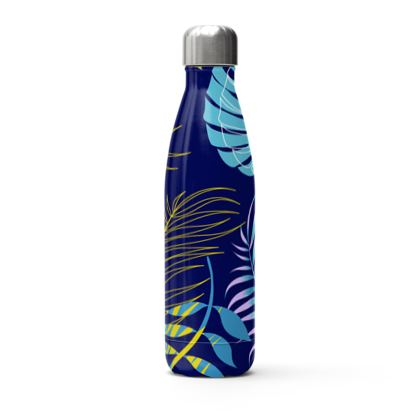 blue leaves stainless steel thermal bottle