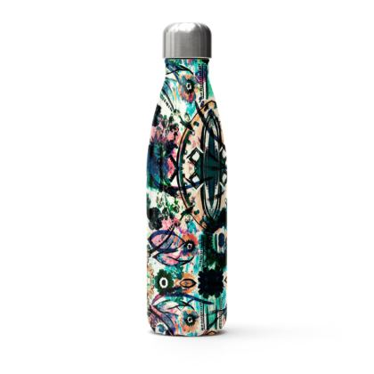 Blue and Black Bohemian Thermal Printed Water Bottle