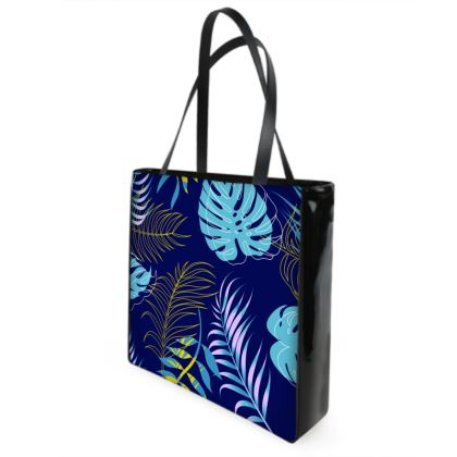 blue leaves shopper bag