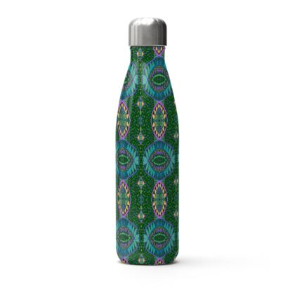 Blue and Green Thermal Printed Water Bottle