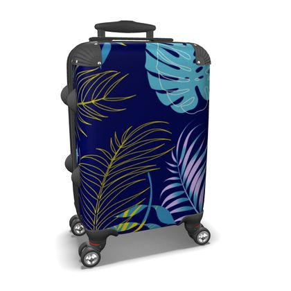 blue leaves suitcase