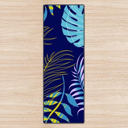 blue leaves yoga mat