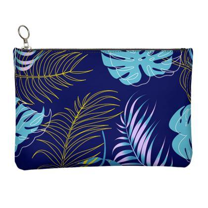 blue leaves clutch bag