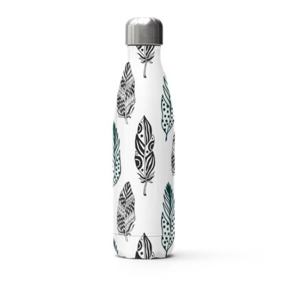 minimal feathers stainless steel thermal bottle