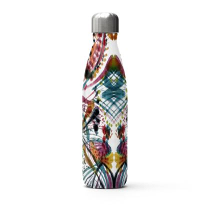 White and Blue Thermal Printed Water Bottle