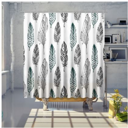 minimal feathers shower curtain
