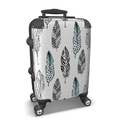 minimal feathers suitcase