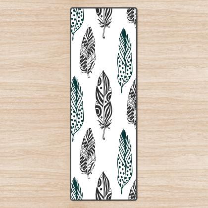 minimal feathers yoga mat
