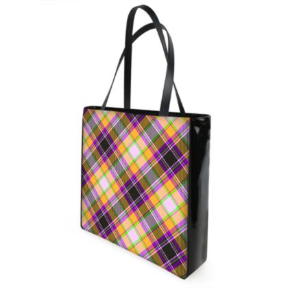 orange plaid shopper bag