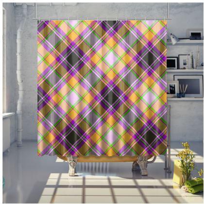orange plaid shower curtain
