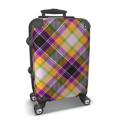 orange plaid suitcase