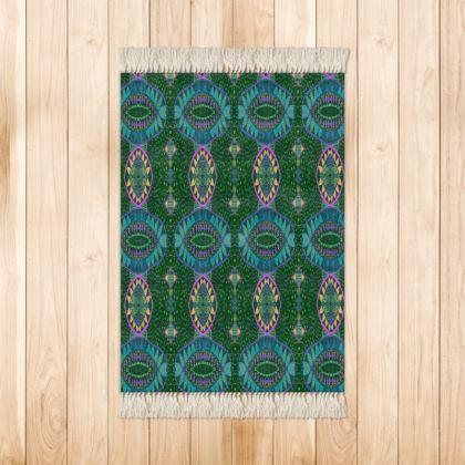 Green and Blue Small Velvet Rug