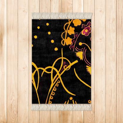Black & Yellow Small Velvet Rug