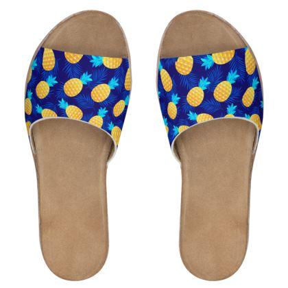 pineapple fun leather sliders