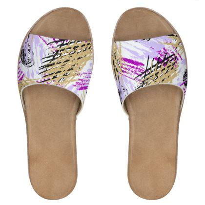 modern abstract painting leather sliders
