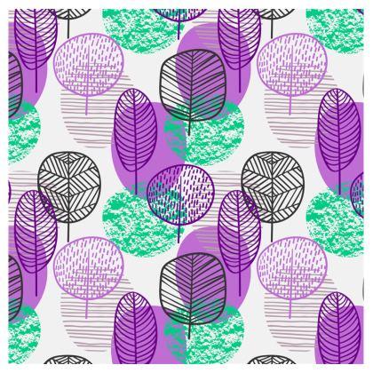 purple teal trees socks