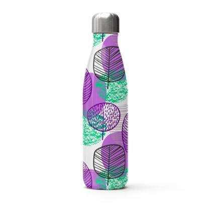 purple teal trees thermal bottle
