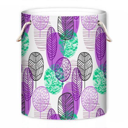 purple teal trees laundry bag