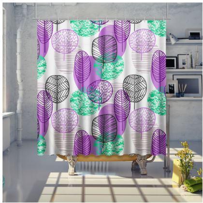 purple teal trees shower curtain