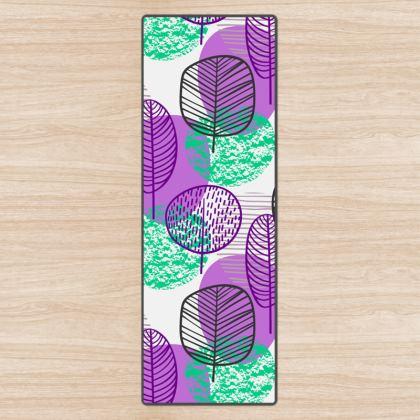 purple teal trees yoga mat