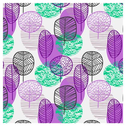 purple teal trees clutch bag
