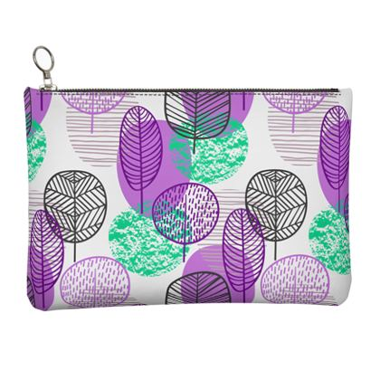 purple teal trees clutch bag