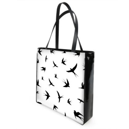 minimal birds shopper bag