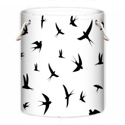 minimal birds laundry bag