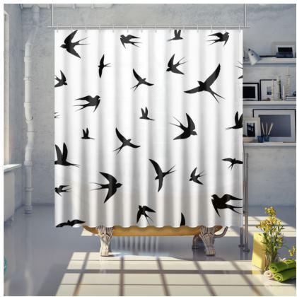 minimal birds shower curtain