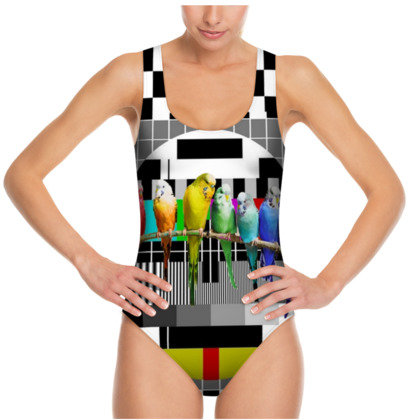 Test Card and Rainbow Budgies Swimsuit