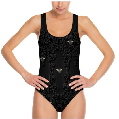 Black Lace and Vintage Bees Swimsuit
