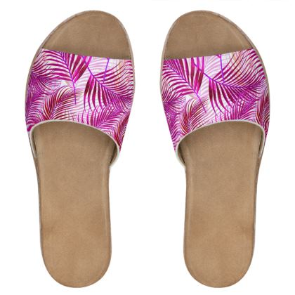 Tropical Garden Collection in Magenta Womens Leather Sliders