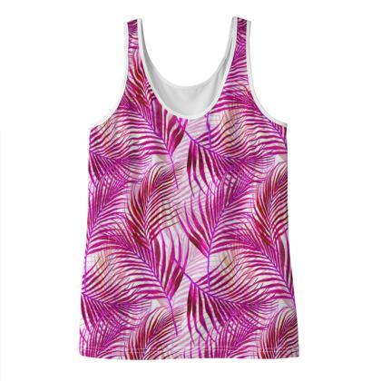 Tropical Garden Collection in Magenta Ladies Vest Top