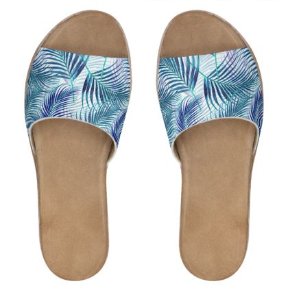 Tropical Garden in Blue Collection Womens Leather Sliders