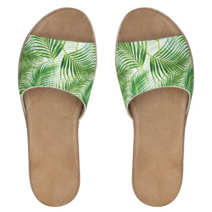 Tropical Garden Collection Womens Leather Sliders