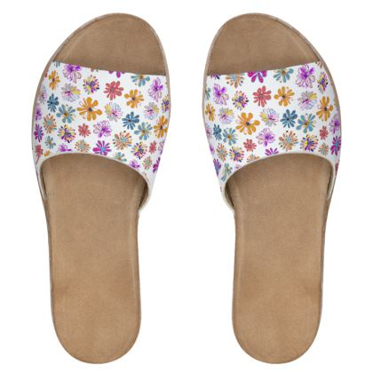 Rainbow Daisies Collection Womens Leather Sliders