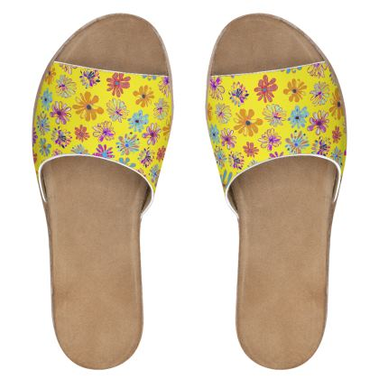 Rainbow Daisies Collection on yellow Womens Leather Sliders