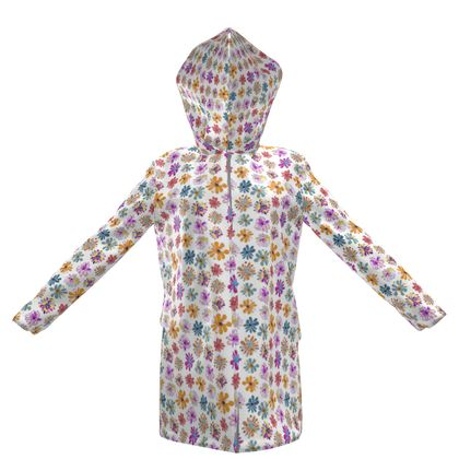 Rainbow Daisies Collection Womens Hooded Rain Mac