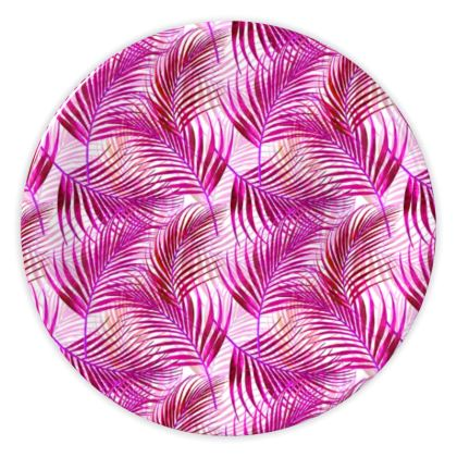 Tropical Garden Collection in Magenta China Plates