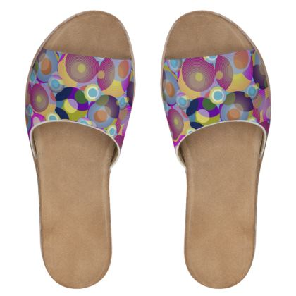 Moon Collection on blue Womens Leather Sliders